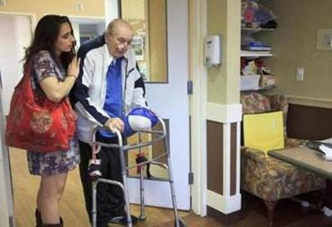 "Lauren Gabriel and her 98-year-old ""buddy,'' Bob Masters."